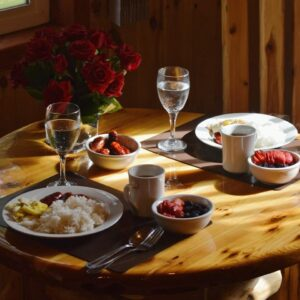 Photo of a Romantic Dinner That Followed a Day of Horseback Riding in Manitoba