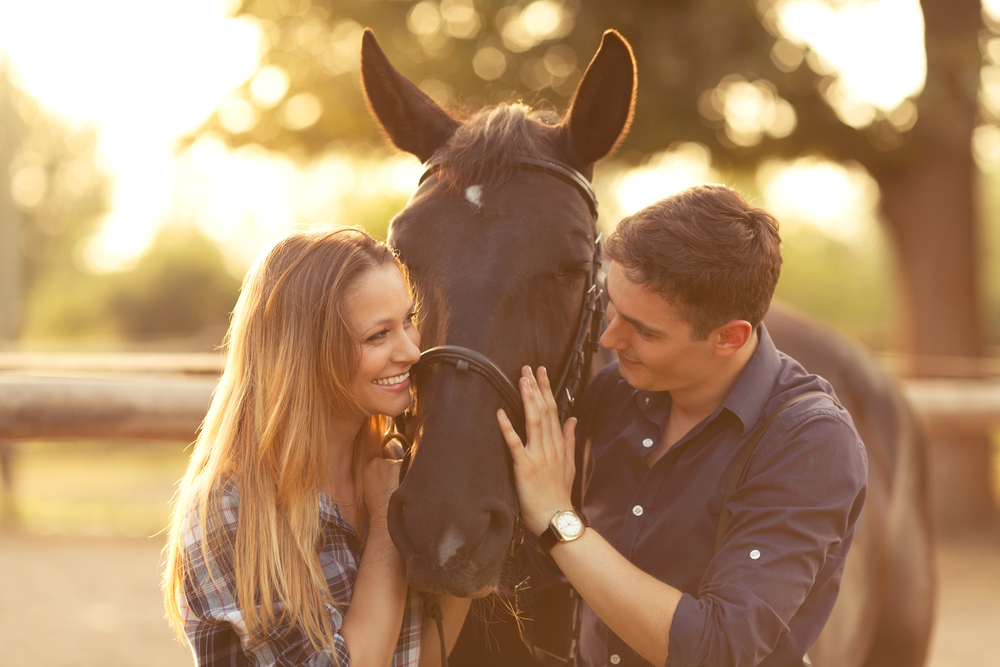 Photo of a Couple Embracing a Horse Before Horseback Riding in Manitoba
