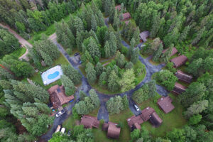 Aerial Photo of Our Whiteshell Lake Resort.