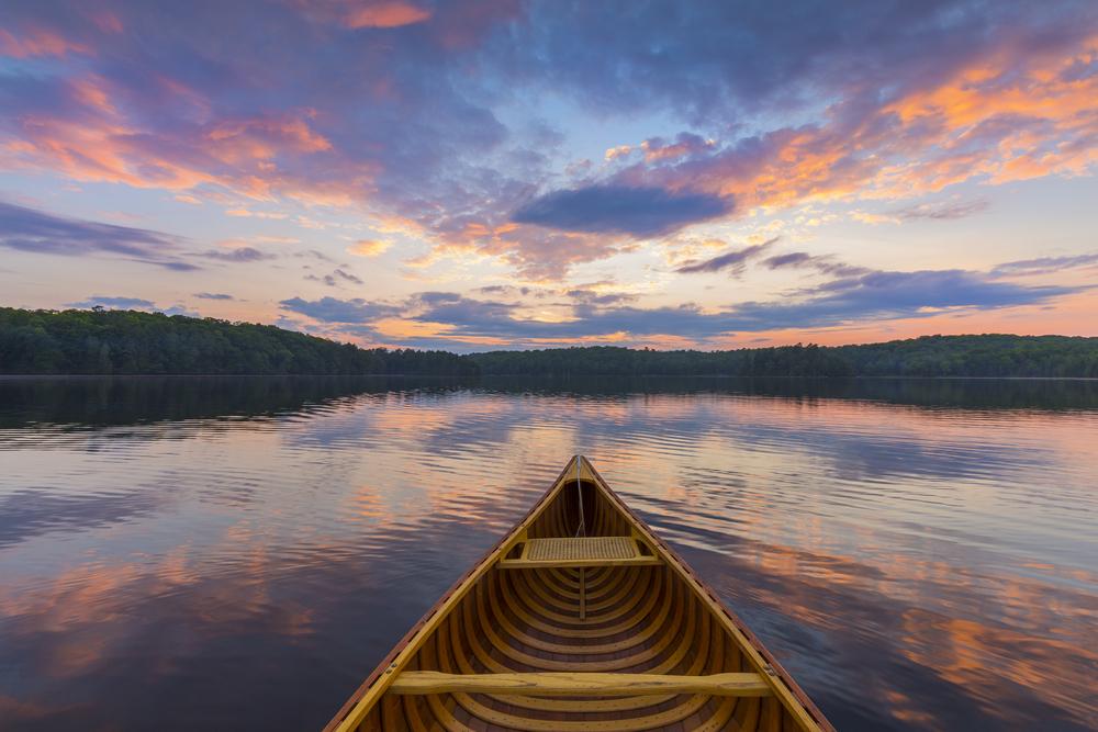 Photo of a Canoe on West Hawk Lake near Our Whiteshell Lake Resort.