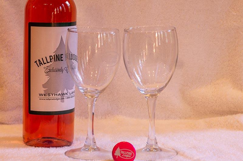 Tallpines Wine and wine glasses.